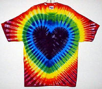 Purple Rainbow Heart Tie-dye T-shirt.
